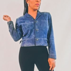 Blue Suede Crop Jacket